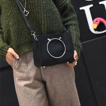 韩国ulzzang新款子母圆环手提包