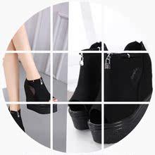 厚底松糕踝靴女高跟内增高坡跟网纱鱼嘴PU太空革凉鞋 新款 春季韩版