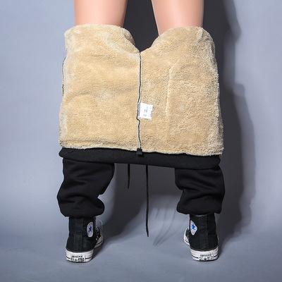 男士加绒裤子卫裤宽松大码加厚保暖休闲运动裤纯棉小脚长裤男冬季