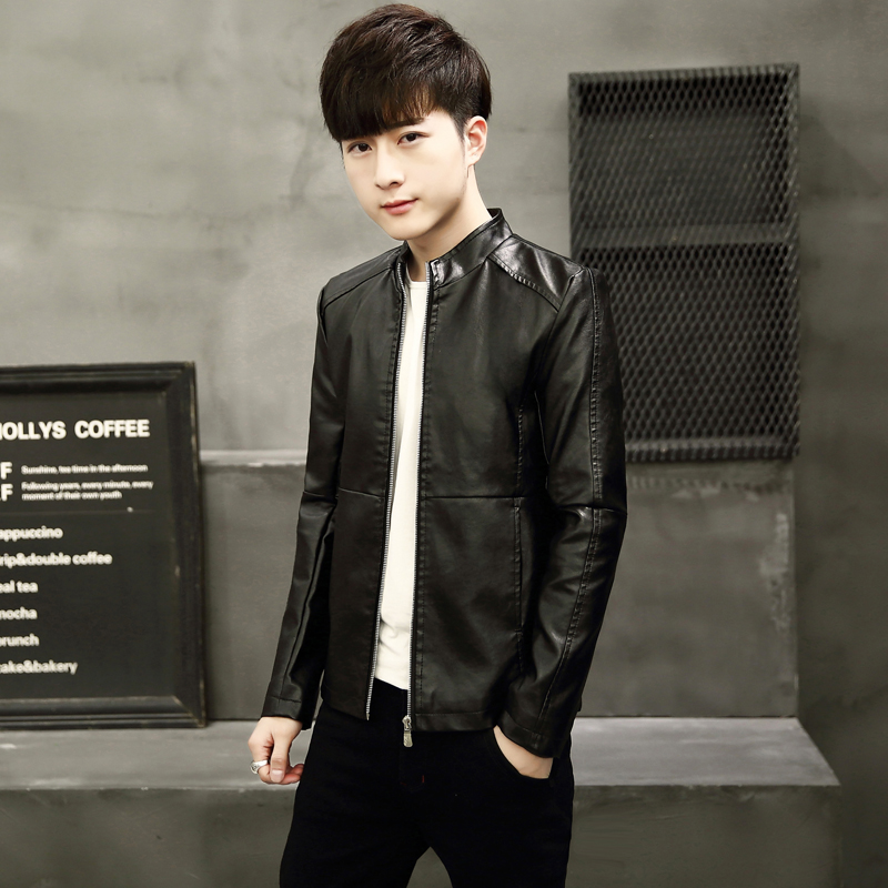 秋冬装皮衣男士立领外套韩版修身款长袖机车皮夹克男青年时尚皮衣