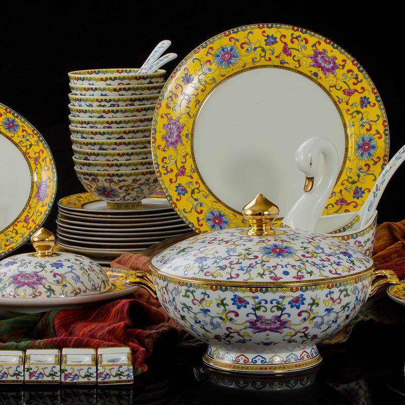 中式皇家手工珐琅彩立体浮雕奢瓷80头满花包金餐具碗