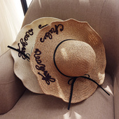 天天特价英文刺绣大檐手工编织草帽子女夏天海边度假遮阳帽沙滩帽