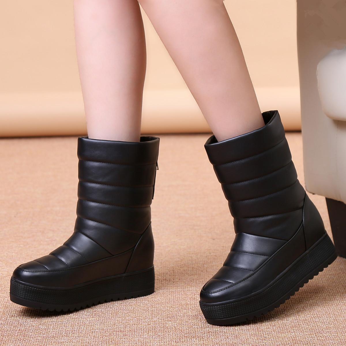 冬季保暖女靴加厚中筒雪地靴女棉靴平跟短靴防水厚底雪地靴女棉鞋