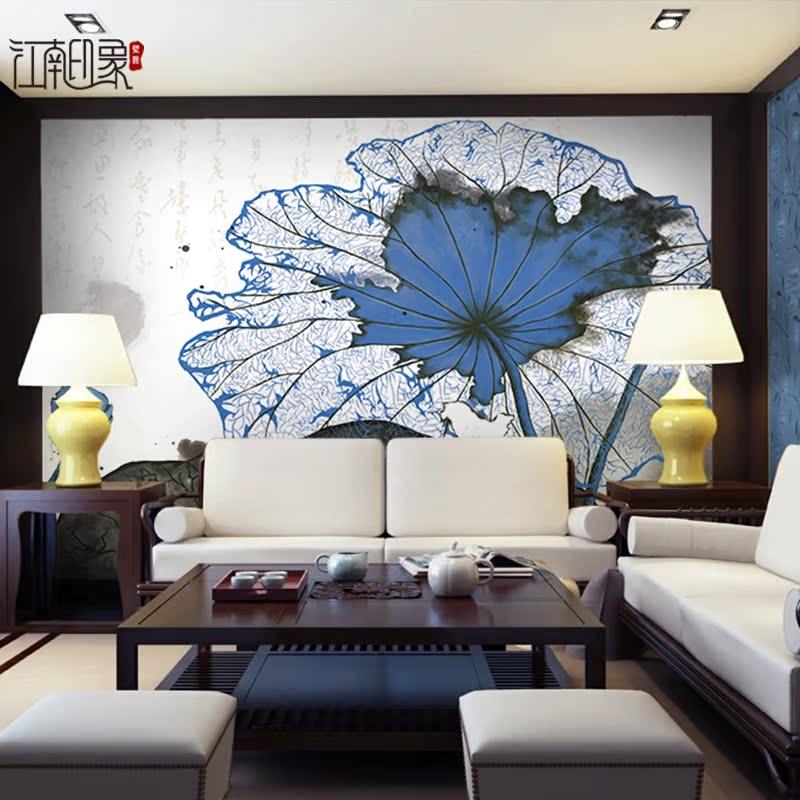 个性抽象现代新中式水墨荷花客厅墙纸壁画蓝色古典电视背景墙壁纸图片