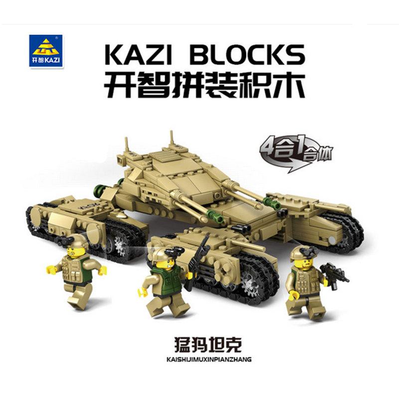 开智84042军事人仔铁血坦克队四合一猛犸坦克拼装积木玩具M1A2