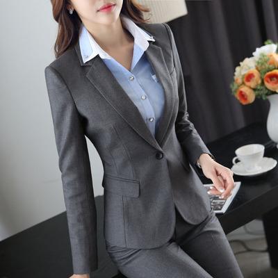 毛呢西装套装女韩版时尚气质商务职业装冬装女2016新款 修身 名媛