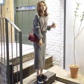 现货 sunfresh韩国代购女装2016秋装条纹针织连衣裙套装SE071601