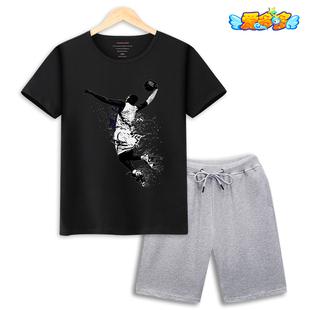 男童夏季短袖套装nba科比运动篮球服中大童男孩纯棉圆领T恤两件套