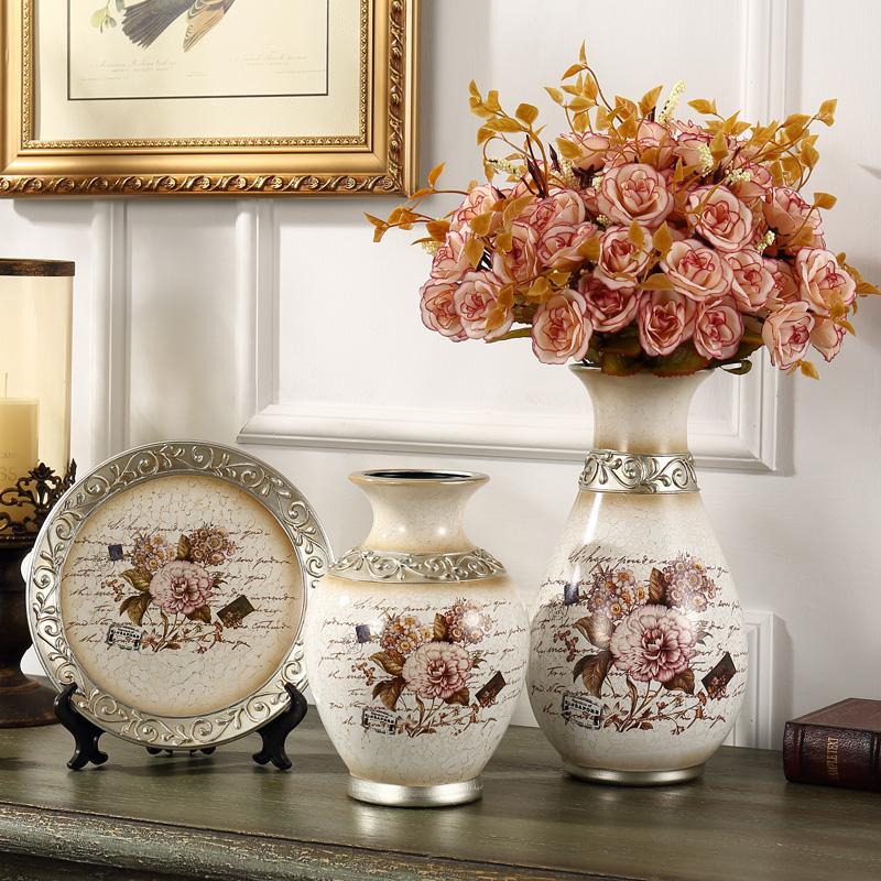 欧式陶瓷花瓶摆件 家居家饰装饰品三件套奢华复古客厅摆设工艺品