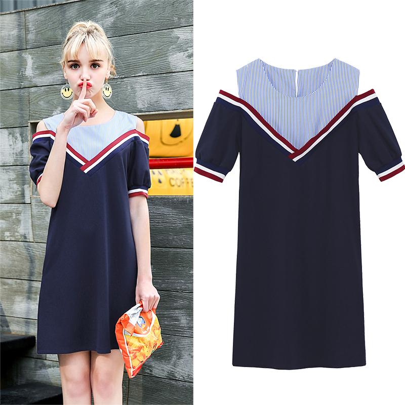 拼接宽松小象裙子短袖MG连衣裙性感假两件夏季条纹