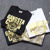 【天天特价】陈冠希明星同款大码烫金短袖T恤男日本潮牌纯棉半袖