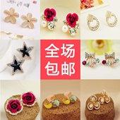 韩版珍珠耳钉欧美甜美气质简约长款耳环耳夹小饰品 女