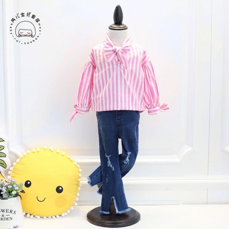 芮儿宝贝韩版童装女童2017春装新款韩版儿童可爱蝴蝶结7分袖衬衫