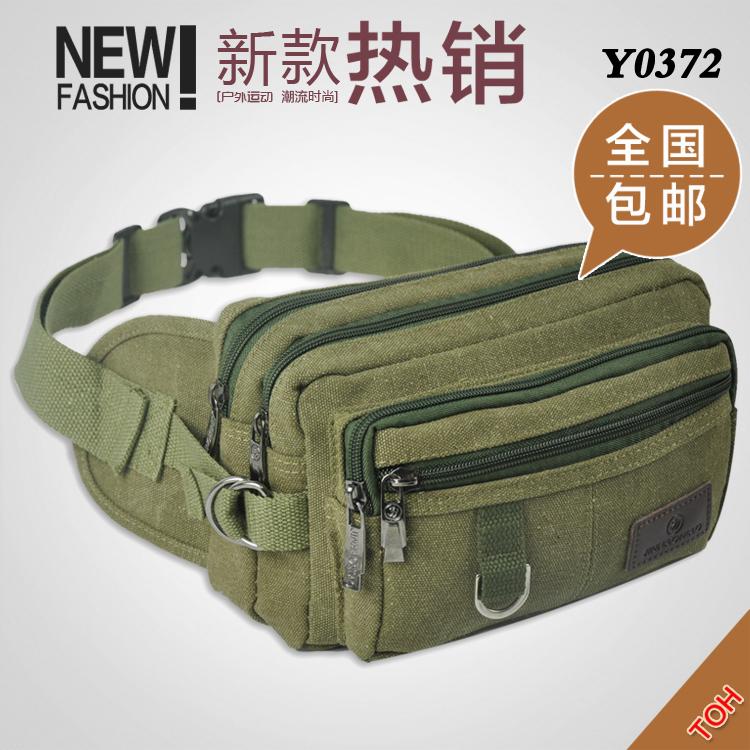 【拾贝箱包】韩版包邮多功能帆布旅游户外运动休闲腰包斜跨Y0372