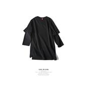 【特价清仓】BJHG纯色磨毛假两件七分袖T恤潮男秋美式休闲街头TEE