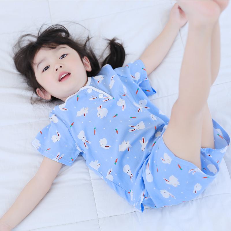 春夏季儿童短袖家居服套装男童女童宝宝绵绸薄款睡衣3-5 7-9周岁