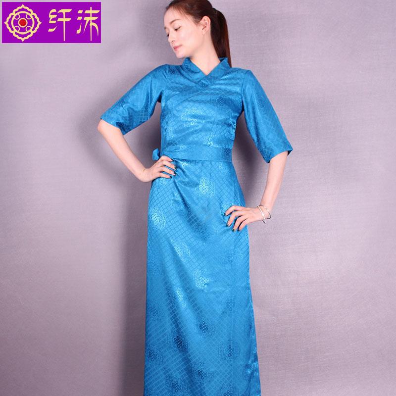 新款西藏服女 夏季藏服民族服装短袖博拉高档波利丝扎藏装藏袍女