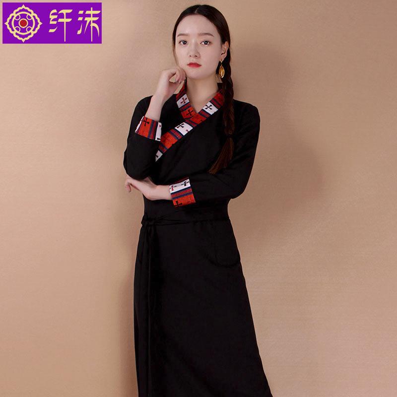 换季清仓 藏装女西藏服饰棉麻藏服 藏族服装博拉藏衣氆氇花边藏袍