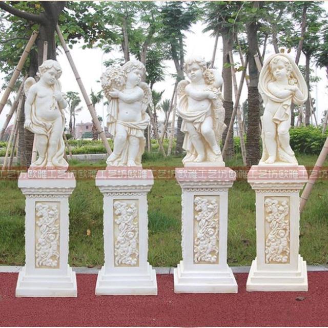 欧式别墅园林人物天使雕塑家居酒店装饰摆件四季小天使站立摆件