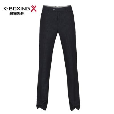 劲霸男士休闲裤深兰色小格纹商务休闲长裤中腰直筒长裤