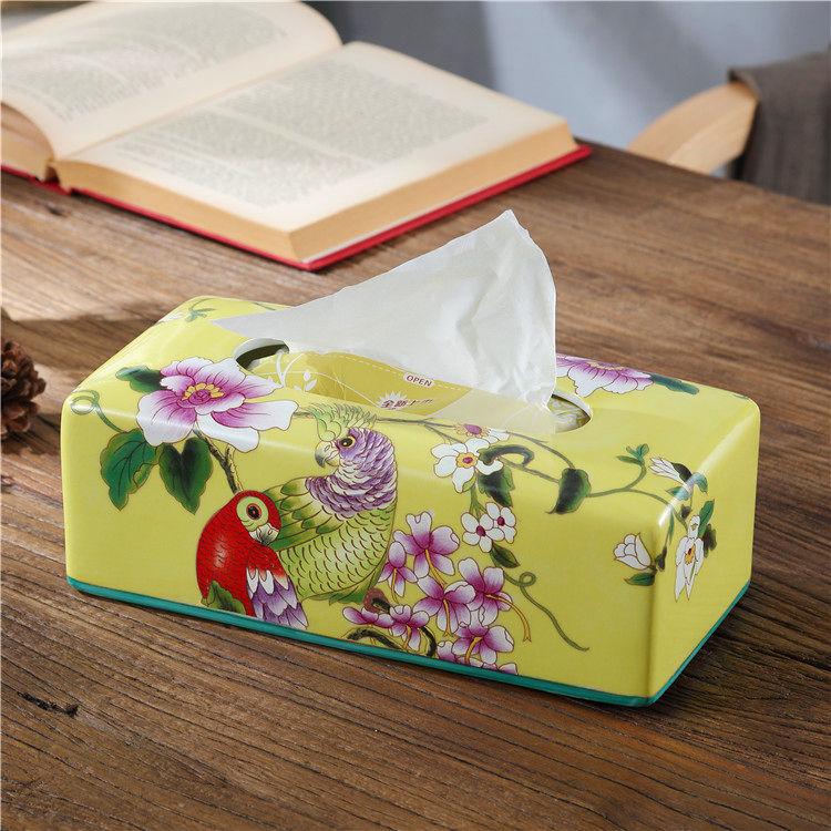 美式乡村陶瓷纸巾盒欧式田园家居客厅浴室纸抽盒中式