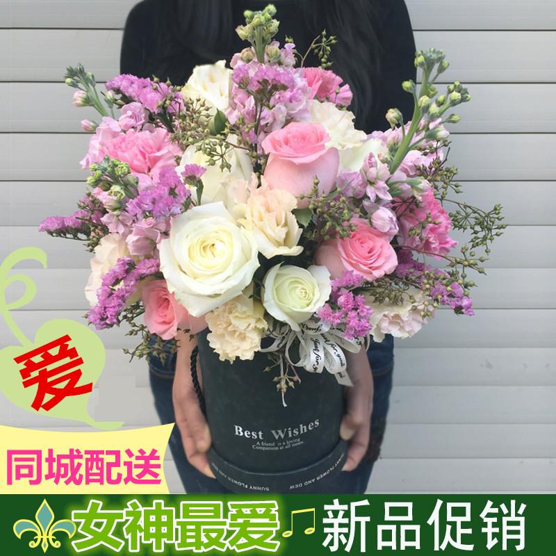 长沙鲜花店速递玫瑰花束礼盒湘潭浏阳星沙岳麓区同城生日送花上门