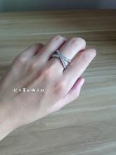 美国代购18k镀白金镶钻时尚交叉戒指指环回馈买家特别款