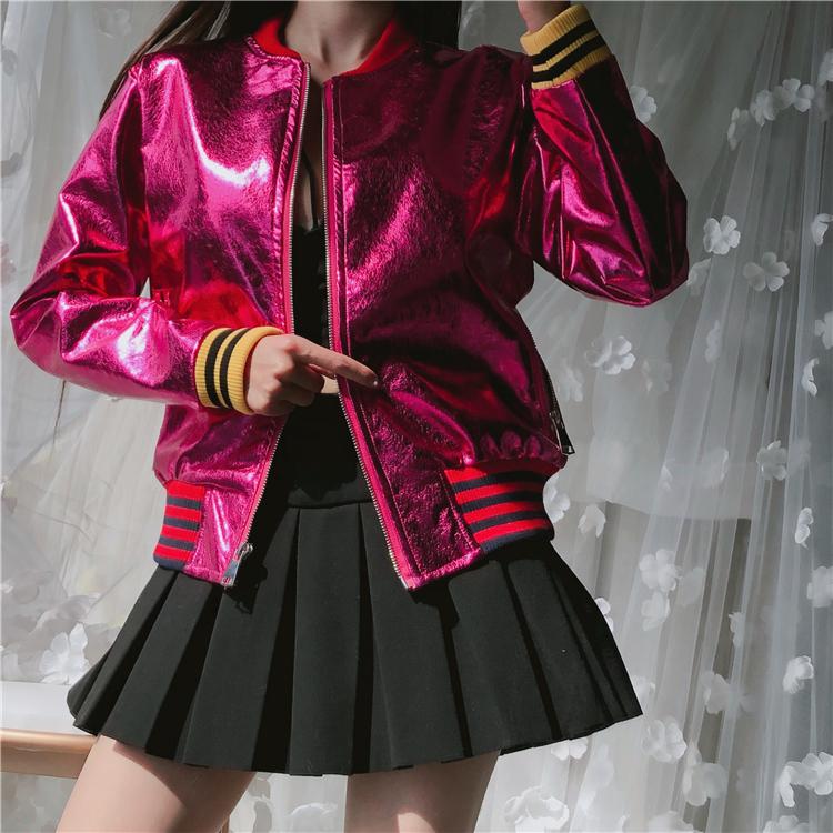 秋冬新款韩版时尚宽松显瘦炫彩亮色皮衣女撞色螺纹飞行服夹克外套