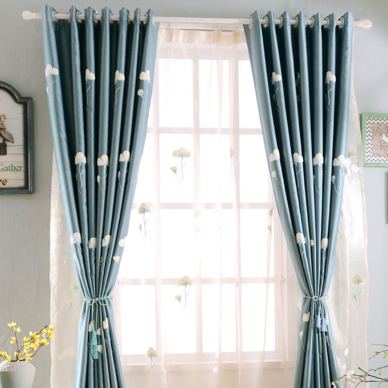 现代成品窗帘 卧室客厅阳台遮光布帘加厚绣花小短