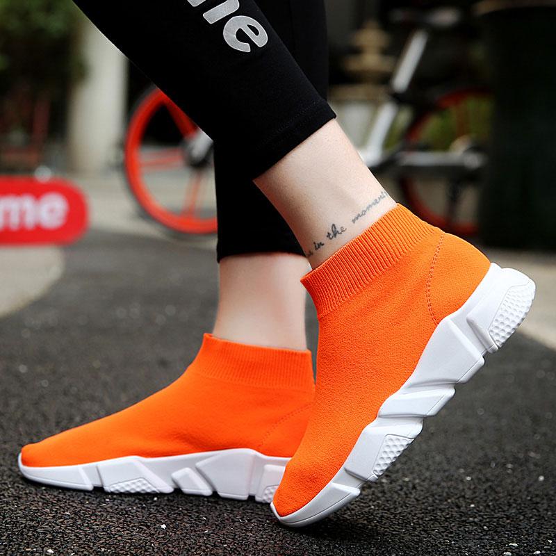 甜美高帮袜子鞋女秋季飞织透气运动休闲女鞋帆布弹力布鞋情侣潮鞋