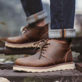 靴子男夏季马丁靴真皮复古军靴耐磨中高帮皮靴男鞋秋季英伦工装鞋