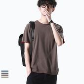 二十八间夏装纯色复古假两件短袖纯棉宽松圆领休闲T恤韩版潮流男