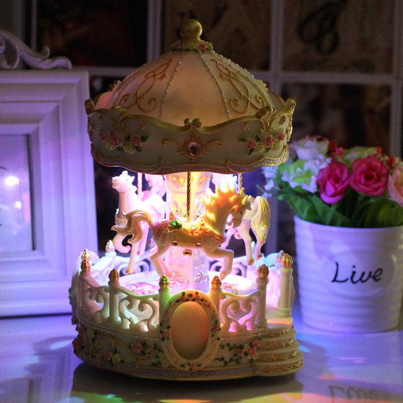 升降旋转木马音乐盒八音盒生日礼物创意送男女友女生儿童闺蜜浪漫