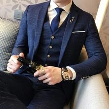 西服套装男士三件套修身职业休闲韩版正装伴郎小西装新郎结婚礼服