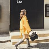 大翻领系带黄色中长款呢子大衣腰带毛呢斗篷外套女秋冬新款2017潮
