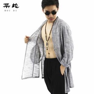 某地中国风亚麻轻薄款汉服中长款风衣夏季防晒衣男士棉麻居士茶禅