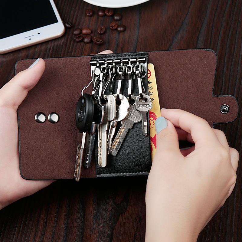 牛皮车钥匙包女式小包韩国迷你简约可爱多功能男士卡包创意锁匙包