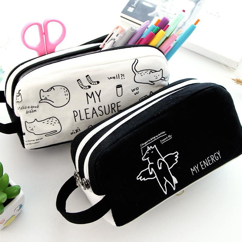 简约手拎笔袋文具铅笔盒帆布容量男女拉链双层小学生韩国