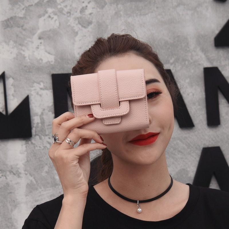 简约短款女小钱包欧美时尚女士插扣钱夹零钱卡包2017新款潮流女包