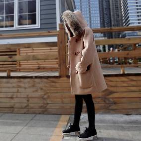 秋冬MAX同款超大貉子毛领加厚连帽宽松牛角扣羊毛大衣毛呢外套女