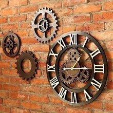 工业风复古个性齿轮客厅挂钟钟表壁饰创意餐厅墙面装饰酒吧壁挂