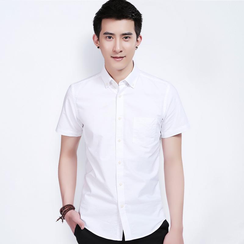 【包邮】欧比森男士牛津纺水洗白衬衫