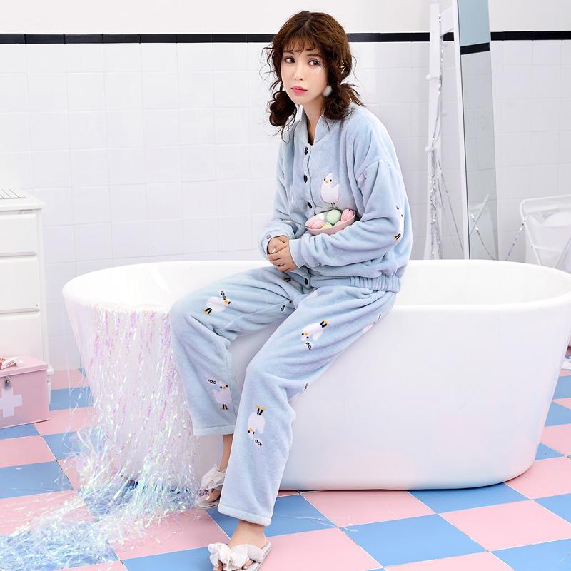 珊瑚绒睡衣女冬可爱韩版清新学生长袖秋冬款可外穿法兰绒加绒套装