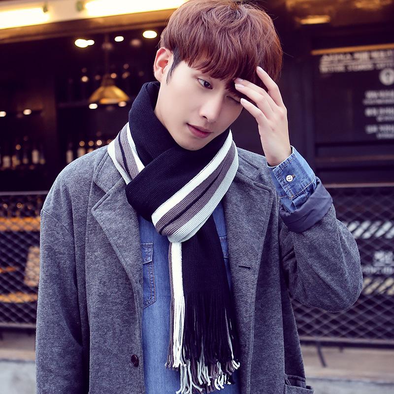新款男士围巾秋冬季韩版年轻人拼色潮围脖长款学生保暖毛线围巾