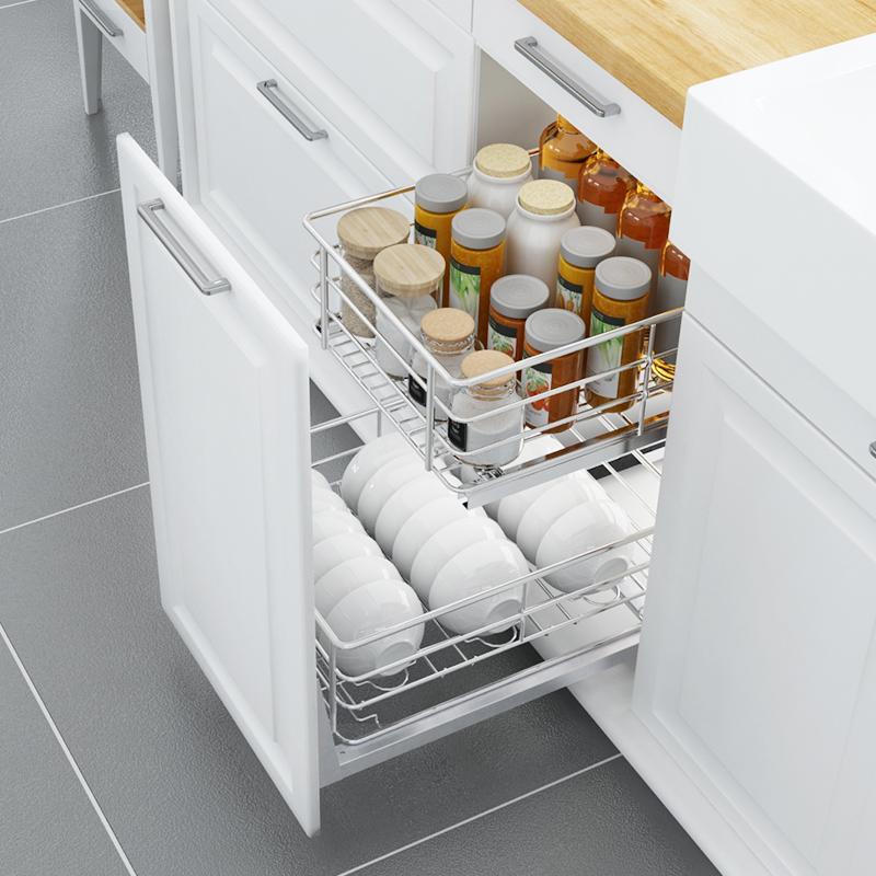 不锈钢拉篮阻尼厨房橱柜碗架厨柜调味篮架碗碟碗篮置物架 304 意驰