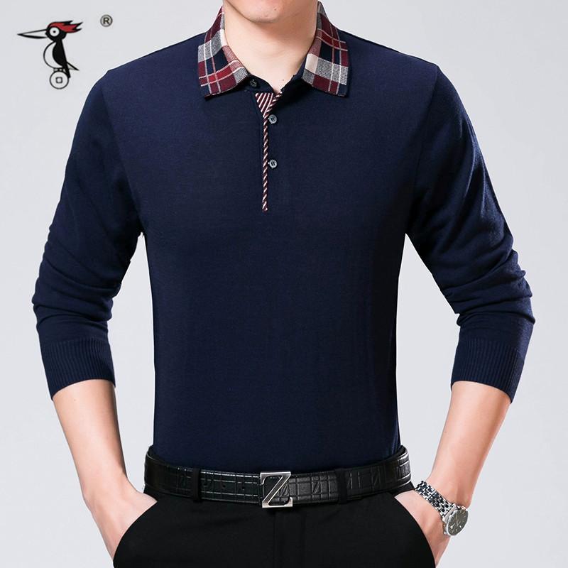啄木鸟男士长袖t恤2017春季新款中年男装爸爸装纯色带领针织体恤