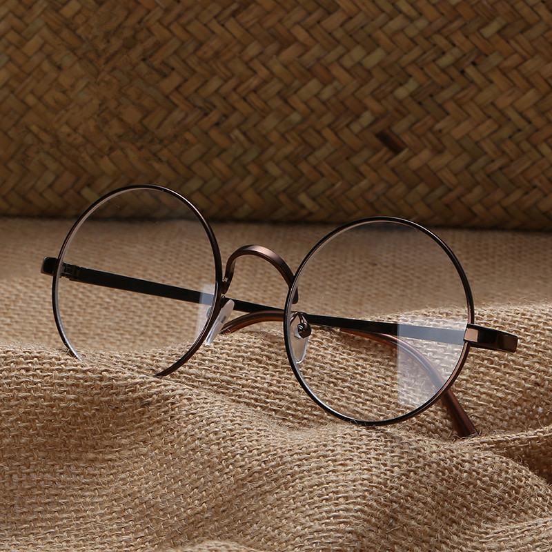 装饰眼镜女生圆脸文艺小清新金边平光眼镜框男没度数复古圆形简约
