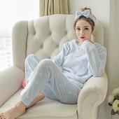 睡衣女法兰绒加厚秋冬套头长袖薄款珊瑚绒睡衣甜美可爱少女家居服