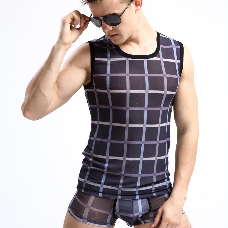 英伦绅士男士背心透气宽肩透明时尚潮男打底汗衫格子无袖圆领背心