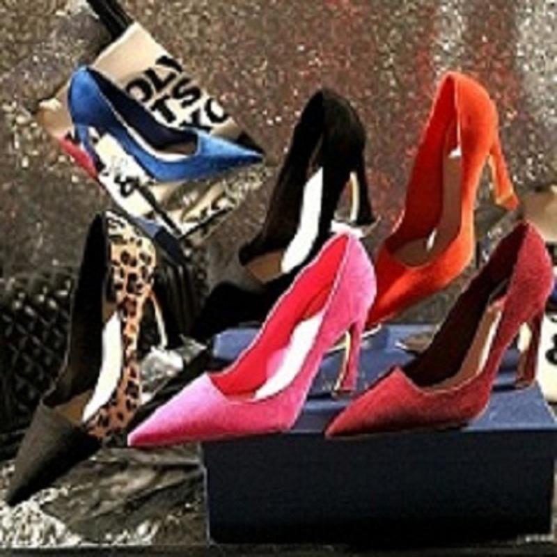 欧美新款V口尖头高跟鞋真皮细跟单鞋豹纹拼色女鞋时尚马蹄超高跟